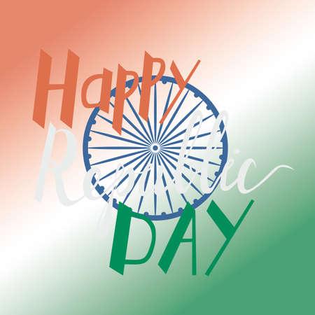 asoka: Elegant Indian flag theme background with beautiful text design of Happy Republic day