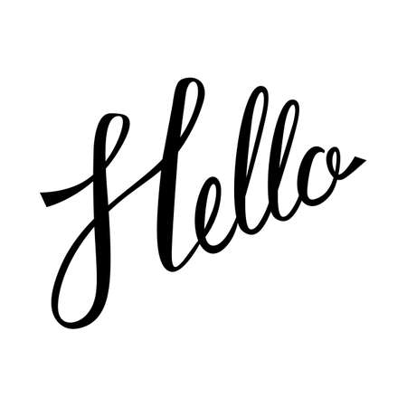 caligraphy: Hello hand lettering. Modern calligraphy Hello. Hello inscrition. Brush Pen lettering isolated on white background. Illustration