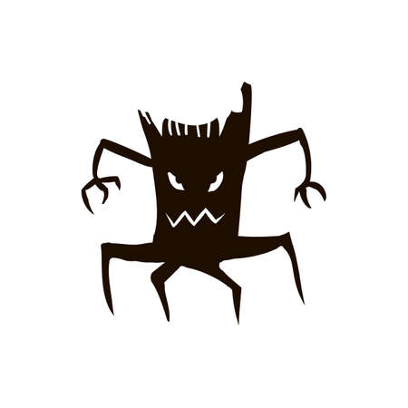 splinter: Silhouette of tree or stump icon for Halloween isolated on white background