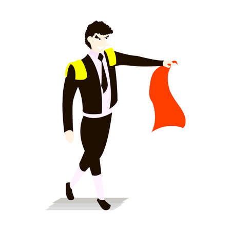 Bullfighter in a black suit and tie with a capein style flat isolated on white background