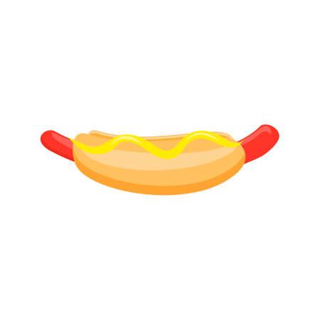 banger: Cartoon Hotdog with mustard. Hot dog isolated on white background
