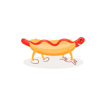 banger: Cartoon Hotdog with ketchup. Hot dog isolated on white background