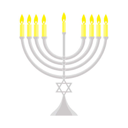 happy Hanukkah, Jewish holiday. Hanukkah menorah isolated on white background Stock Photo