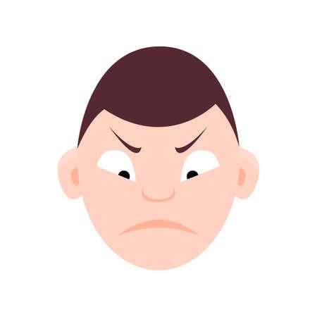 lad: Cute child emotion, faces, kid icon avatar