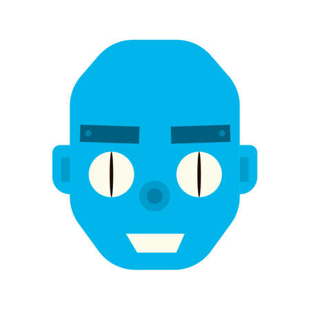assistent: Emotional happy robot head in cartoon style. robot joy