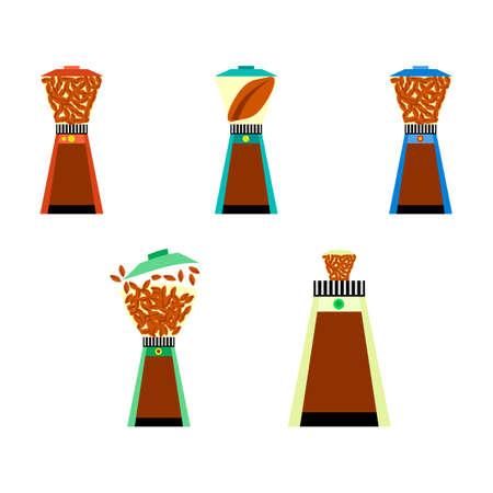 freshly: Colored flat icon set. Coffee mill cartoon style. Illustration of drinks, fresh coffee. Symbol of freshly brewed coffee Illustration
