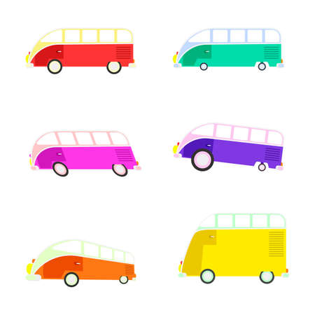 omnibus: Colorful cartoon travel bus collection. Surfing retro buses in different colors. Set of recolored traveler coach camper flat style icons isolated on white. Family summer bus in classic colors, vector.