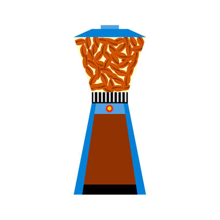 Colored flat icon. Coffee mill cartoon style. Illustration of drinks, fresh coffee. Symbol of freshly brewed coffee