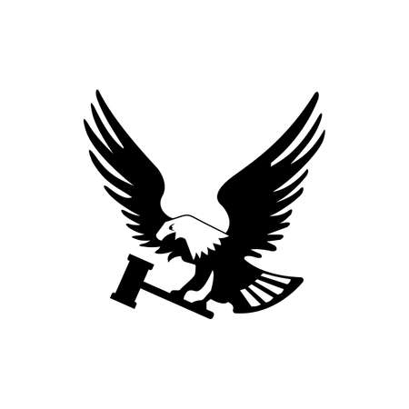Eagle bird with hammer isolated on white backgroundicon. heraldic emblem of powerful wild falcon with stretching clutches. Symbol of eagle hawk predator for sport team mascot shield, company badge, guard service, hunting club label