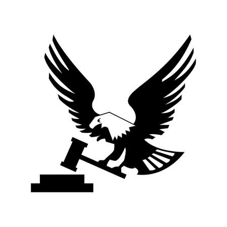 Eagle bird with hammer and anvil isolated on white backgroundicon. heraldic emblem of powerful wild falcon with stretching clutches. Symbol of eagle hawk predator for sport team mascot shield, company badge, guard service, hunting club label Illustration