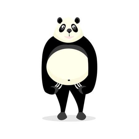 Funny bear panda, on a white background.