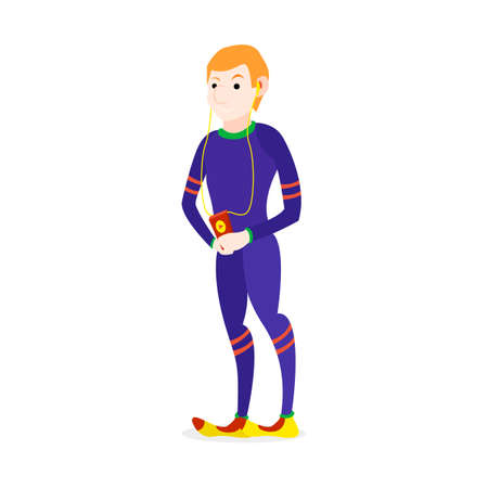 scamper: Runner happy athlete listening to player jogging people character Illustration
