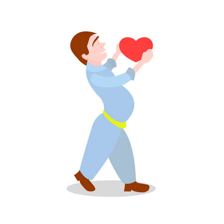 boy giving a heart in the style of cartoon isolated on white background