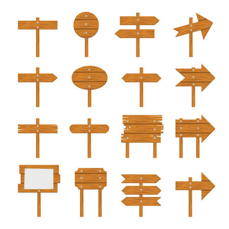 Wooden signboards, wood arrow sign Wooden icon set isolated on white background Illustration
