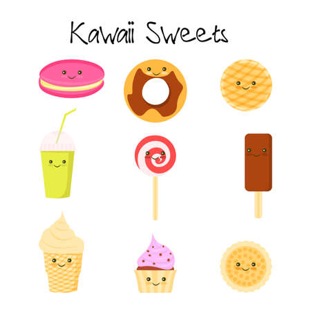 Collection of lovely baby sweet and dessert doodle icon , cute cake , adorable candy , sweet ice cream , kawaii jelly bean , girly cookie in childlike manga cartoon style Stock Photo
