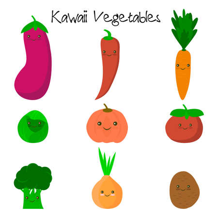 Cute kawaii smiling vegetables. Healthy style collection.