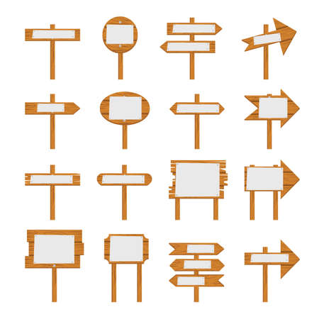 Wooden signboards, wood arrow sign. Wooden icon set isolated on white background