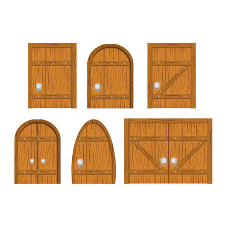 Wooden door set. Closed door, made of wooden planks, with iron hinges. Door isolated on white background Vectores