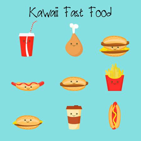 Cartoon potato, cheeseburger, burger, chicken, coffee hot dogs Kawaii Fastfood