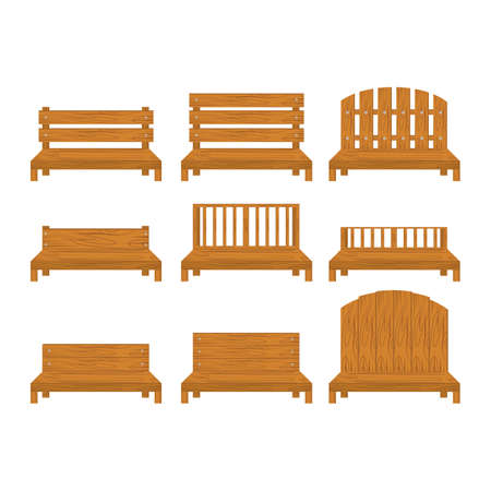 Set Of Wooden Furnitures On A White Background Royalty Free Cliparts ...