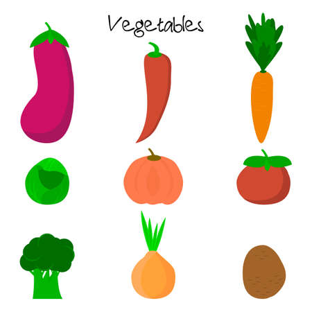 Cartoon cute vegetables. Healthy vegetable style collection