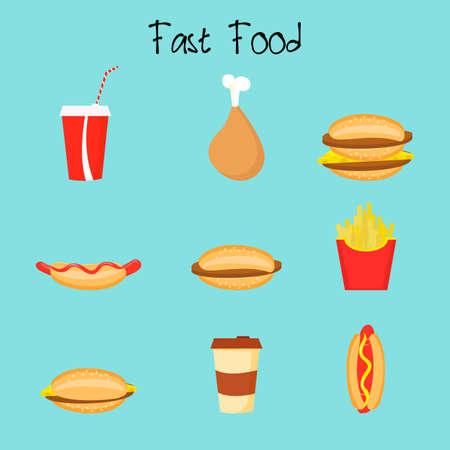 Cartoon potato, cheeseburger, burger, double, nuggets chicken coffee hot dogs Fastfood