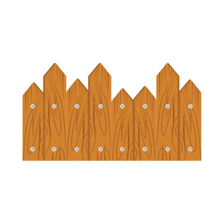 Wooden fence on white background isolated on white background Illustration