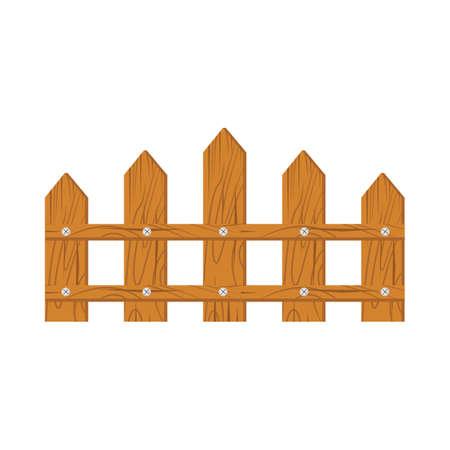 Wooden fence on white background isolated on white background Illustration