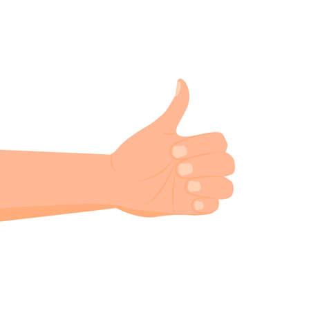 Cartoon hand icon isolated on white background