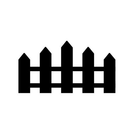 palisade: Black and white silhouette and isolated picket fence Illustration