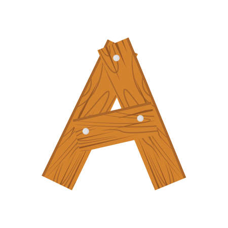 wooden alphabet A letter icon isolated.