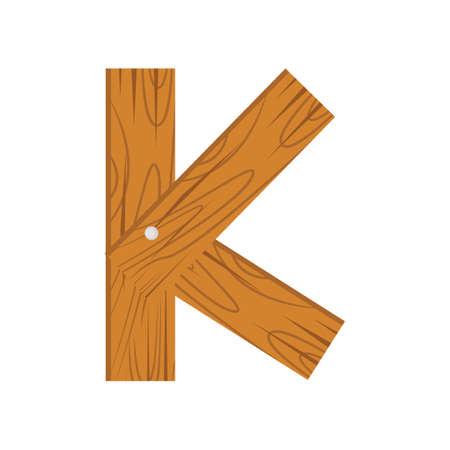 wooden alphabet K letter icon.