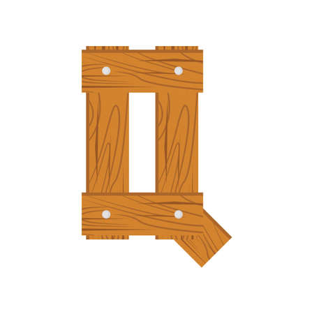 wooden alphabet Q letter icon isolated on white background Illustration