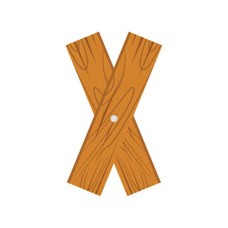 wooden alphabet X letter icon isolated on white background