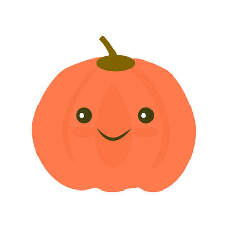 food: Kawaii Pumpkin icon in flat style. Isolated object. Vegetable from the garden. Healthy lifestyle. Organic food. Illustration