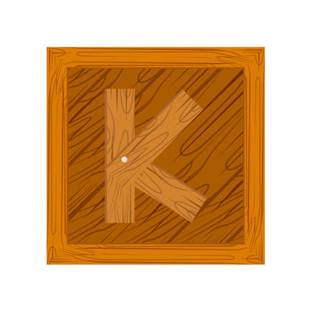 wooden block alphabet K letter icon isolated on white background