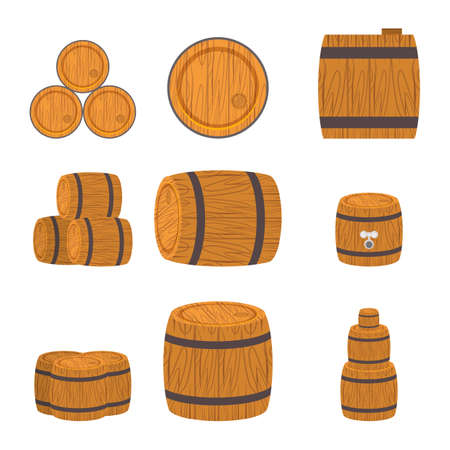 steel drum: Set of wooden barrels, flat style isolated on white background.