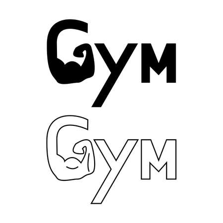 Hand of Gym set logo. Brawny arm isolated. Flat style. Logo. Sports emblem, icon, Badge, Fitness Logo Design