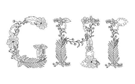 Tropical floral summer pattern hand drawn ornamental font set with palm beach leaves, flower. Letter G,H,I Banco de Imagens - 78769569