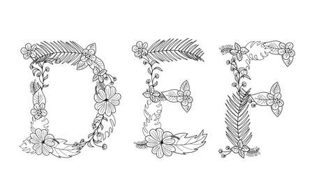 Tropical floral summer pattern hand drawn ornamental font set with palm beach leaves, flower. Letter D,E,F