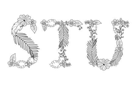 u s: Tropical floral summer pattern hand drawn ornamental font set with palm beach leaves, flower. Letter S,T,U