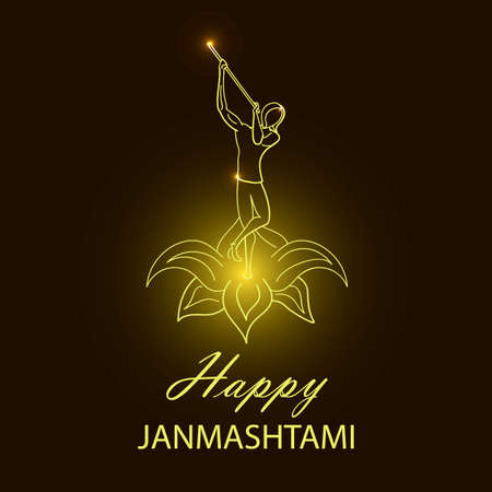 Krishna Janmashtami background. Greeting card for Krishna birthday. Illustration of India community festival Krishna Janmashtami. Illustration