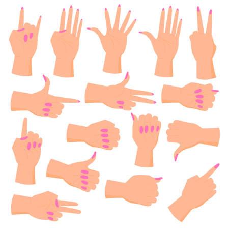 set female hands. Hands in various gestures. Flat design modern