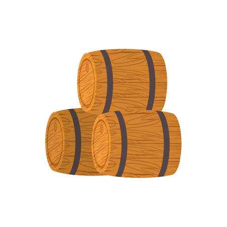 Cartoon wooden barrel in flat style. Container, tank for rum, vodka, cognac, brandy Illustration