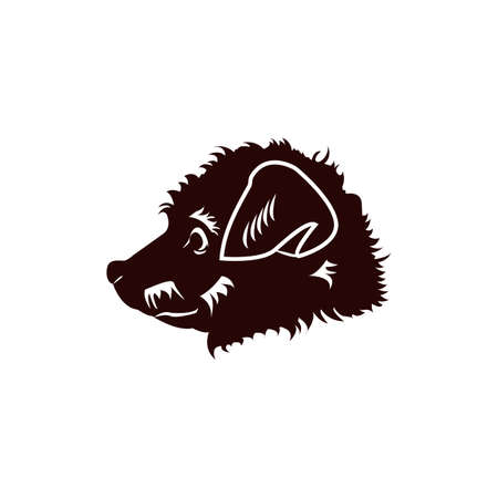 Happy Puppy. Abstract Dog Logo Design Template.