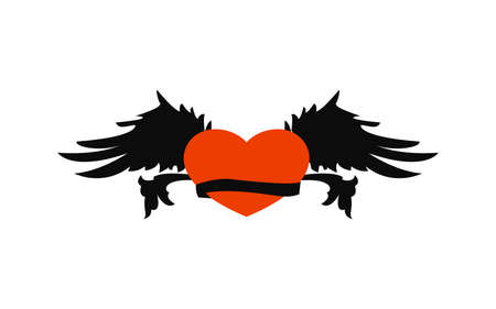 Retro heart with wings and ribbon for tattoo design. Logo heart with wings and ribbon.