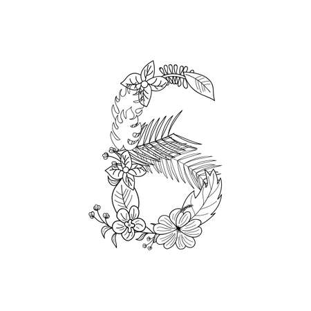 cipher: Tropical floral alphabet numbers, palm numbers 6