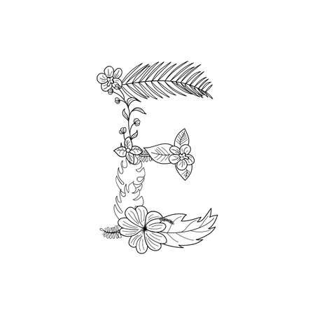 Tropical floral summer pattern hand drawn ornamental font with palm beach leaves, flower. Letter E Ilustração