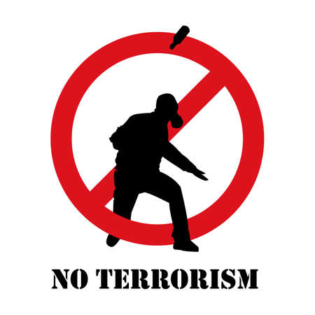 No terrorism. Terrorism is forbidden. Terror in ban sign. Red forbidding sign for terrorist organizations. Terror icon. Terrorism icon. Criminal icon. Flat icon Illustration