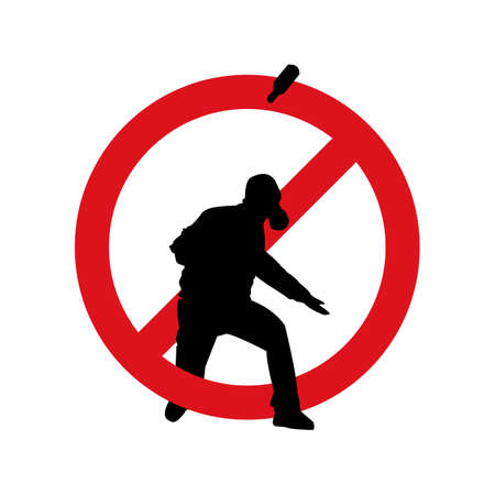 Stop terrorism. Terrorism is forbidden. Terror in ban sign. Red forbidding sign for terrorist organizations. Terror icon. Terrorism icon. Criminal icon. Flat icon